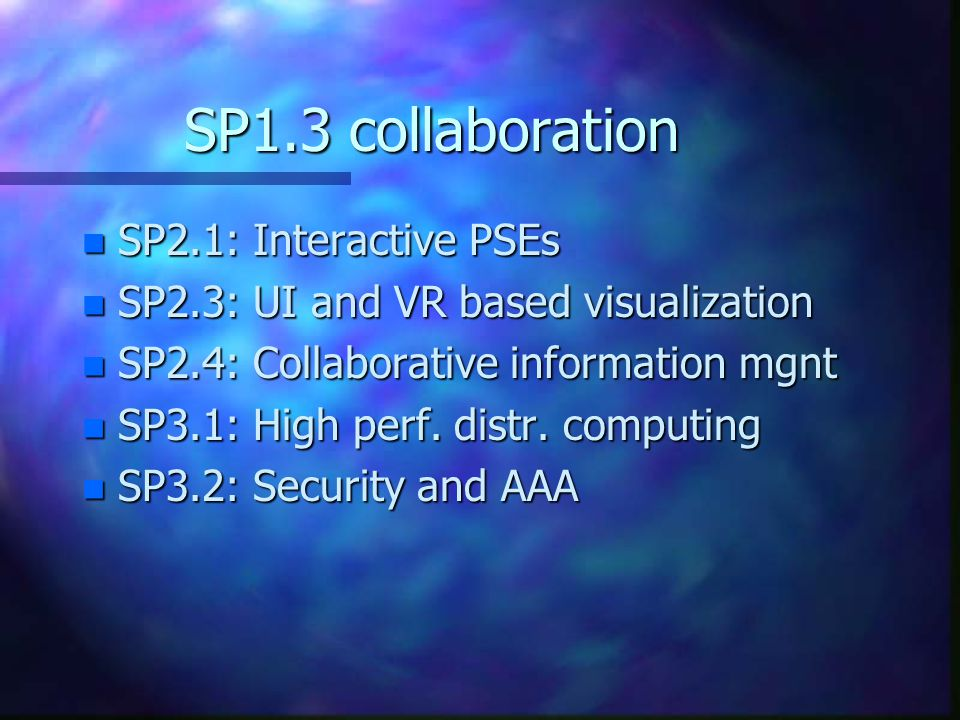 SP1.3 collaboration n SP2.1: Interactive PSEs n SP2.3: UI and VR based visualization n SP2.4: Collaborative information mgnt n SP3.1: High perf.