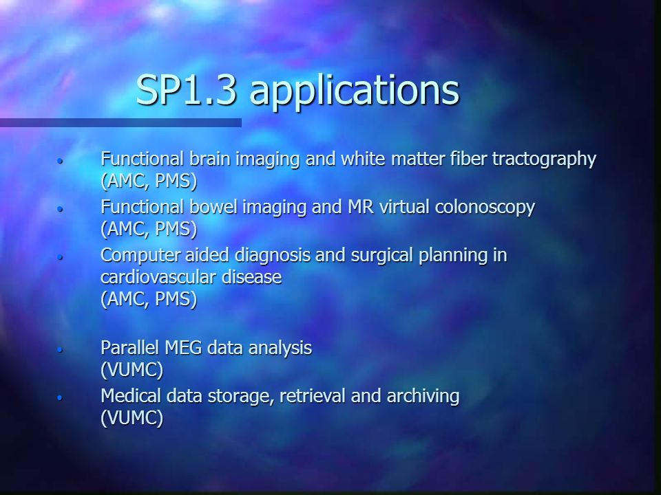 SP1.3 applications Functional brain imaging and white matter fiber tractography (AMC, PMS) Functional brain imaging and white matter fiber tractography (AMC, PMS) Functional bowel imaging and MR virtual colonoscopy (AMC, PMS) Functional bowel imaging and MR virtual colonoscopy (AMC, PMS) Computer aided diagnosis and surgical planning in cardiovascular disease (AMC, PMS) Computer aided diagnosis and surgical planning in cardiovascular disease (AMC, PMS) Parallel MEG data analysis (VUMC) Parallel MEG data analysis (VUMC) Medical data storage, retrieval and archiving (VUMC) Medical data storage, retrieval and archiving (VUMC)