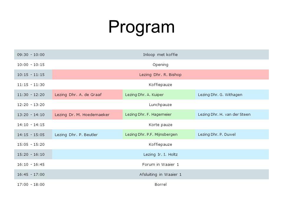 Program 09:30 - 10:00Inloop met koffie 10:00 - 10:15Opening 10:15 - 11:15Lezing Dhr. R. Bishop 11:15 - 11:30Koffiepauze 11:30 - 12:20Lezing Dhr. A. de