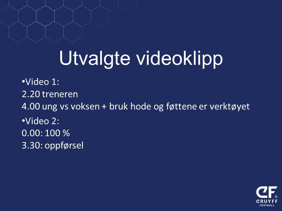 Utvalgte videoklipp Video 1: 2.20 treneren 4.00 ung vs voksen + bruk hode og føttene er verktøyet Video 2: 0.00: 100 % 3.30: oppførsel