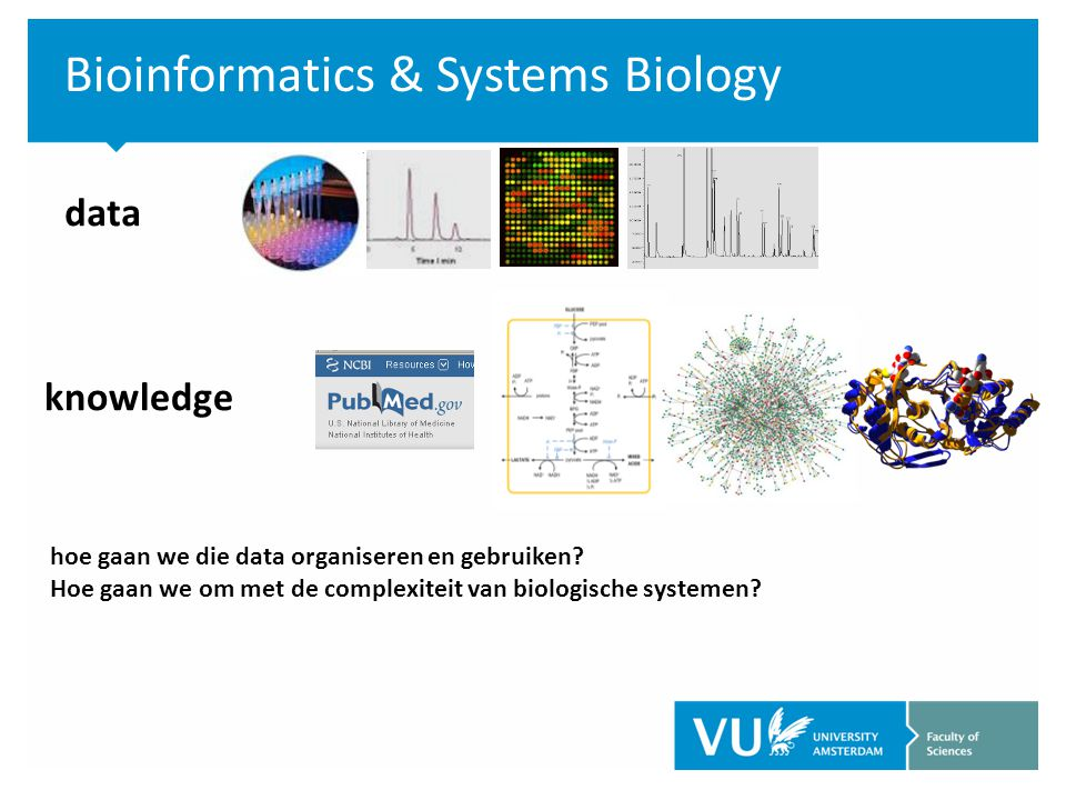 Bioinformatics & Systems Biology data knowledge hoe gaan we die data organiseren en gebruiken.