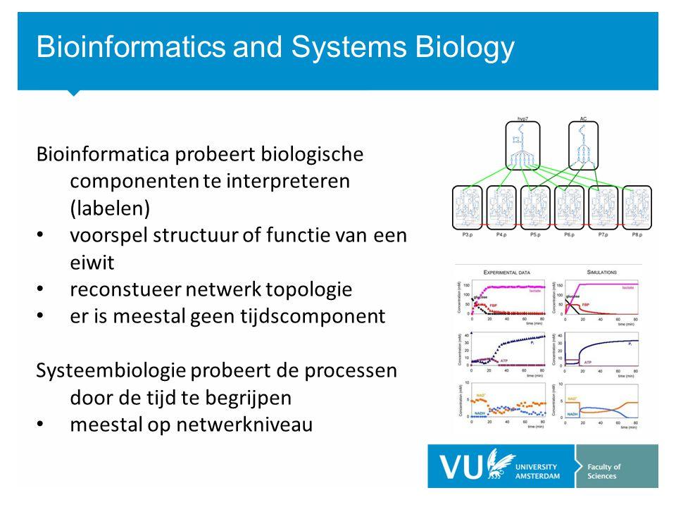 Bioinformatics and Systems Biology Bioinformatica probeert biologische componenten te interpreteren (labelen) voorspel structuur of functie van een eiwit reconstueer netwerk topologie er is meestal geen tijdscomponent Systeembiologie probeert de processen door de tijd te begrijpen meestal op netwerkniveau