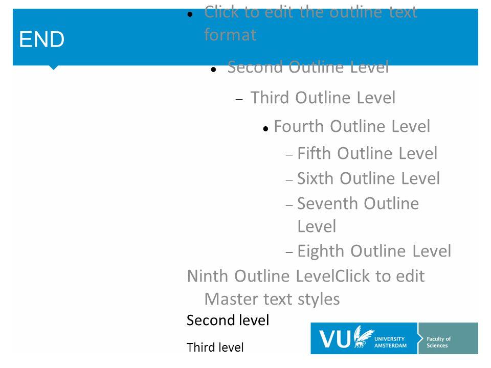 Click to edit the outline text format Second Outline Level  Third Outline Level Fourth Outline Level  Fifth Outline Level  Sixth Outline Level  Seventh Outline Level  Eighth Outline Level Ninth Outline LevelClick to edit Master text styles Second level Third level Fourth level Fifth level END