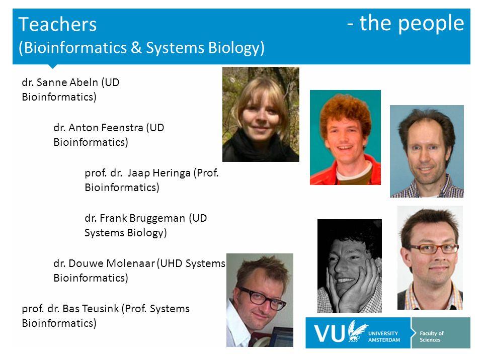 Teachers (Bioinformatics & Systems Biology) dr.Sanne Abeln (UD Bioinformatics) dr.