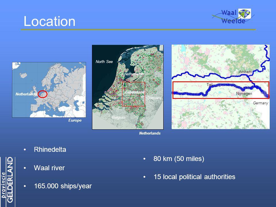 Location Rhinedelta Waal river 165.000 ships/year 80 km (50 miles) 15 local political authorities Waal Weelde Netherlands Europe Netherlands Belgium Germany North See Gelderland Netherlands Nijmegen Arnhem Tiel Germany