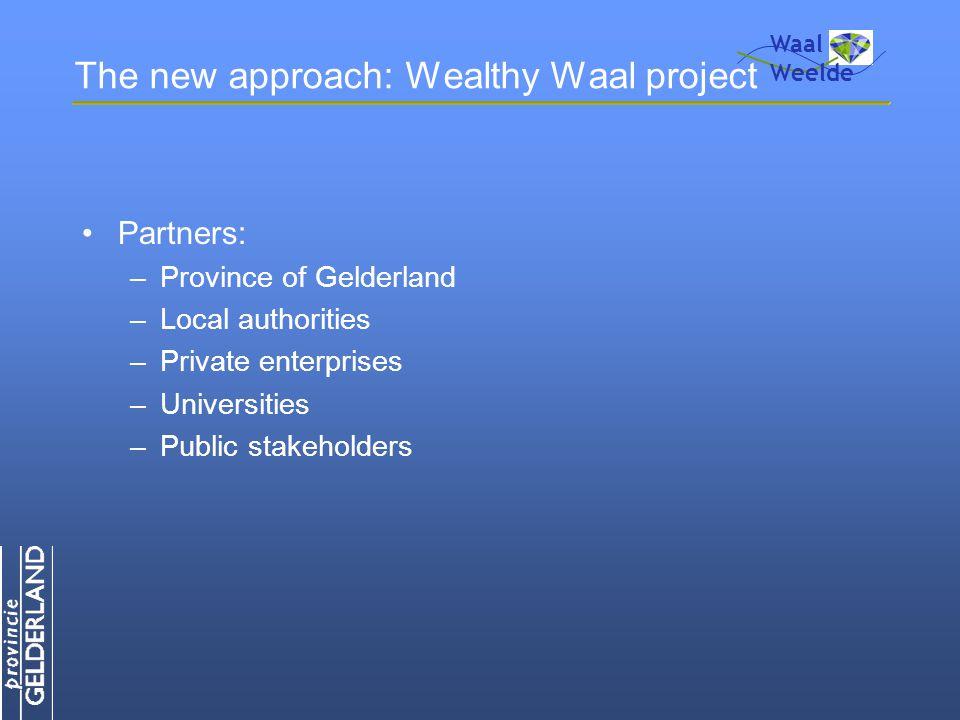 The new approach: Wealthy Waal project Partners: –Province of Gelderland –Local authorities –Private enterprises –Universities –Public stakeholders Waal Weelde