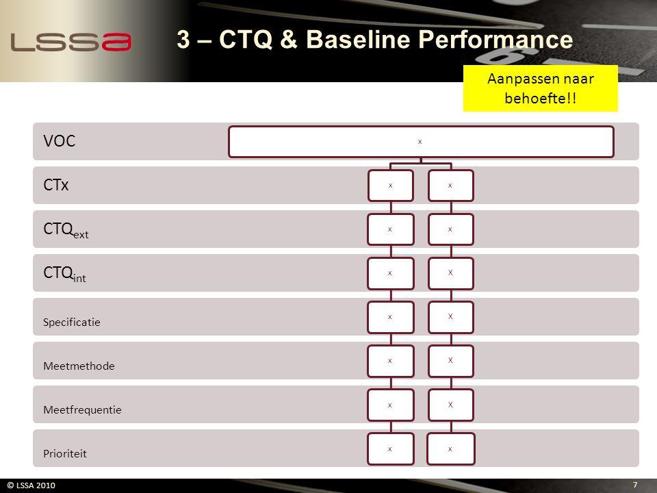 7 © LSSA 2010 Prioriteit Meetfrequentie Meetmethode Specificatie CTQint CTQext CTx VOC xxxxxxxxxxXXXXx 3 – CTQ & Baseline Performance Aanpassen naar b