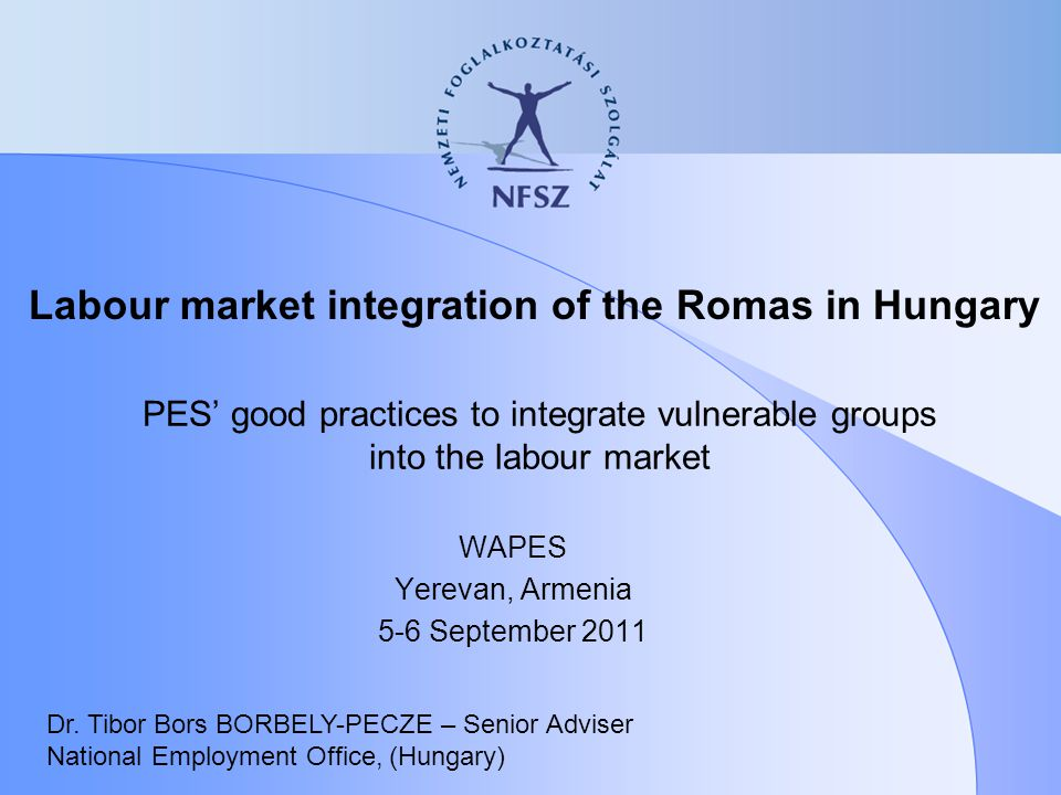 PES' good practices to integrate vulnerable groups into the labour market WAPES Yerevan, Armenia 5-6 September 2011 Dr. Tibor Bors BORBELY-PECZE – Sen