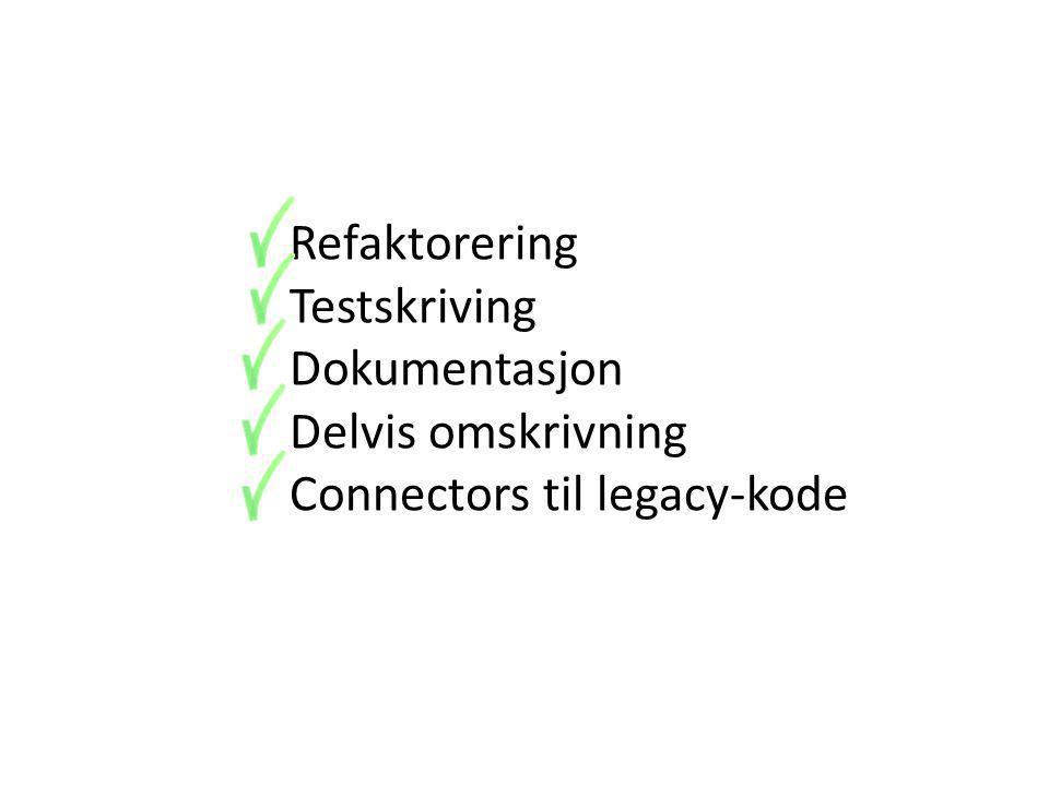 Refaktorering Testskriving Dokumentasjon Delvis omskrivning Connectors til legacy-kode