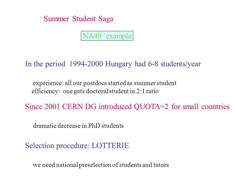 Summer Student Saga In the period 1994-2000 Hungary had 6-8 students/year experience: all our postdocs started as summer student efficiency: one gets doctoral student in 2:1 ratio Since 2001 CERN DG introduced QUOTA=2 for small countries dramatic decrease in PhD students Selection procedure: LOTTERIE we need national preselection of students and tutors NA49 example