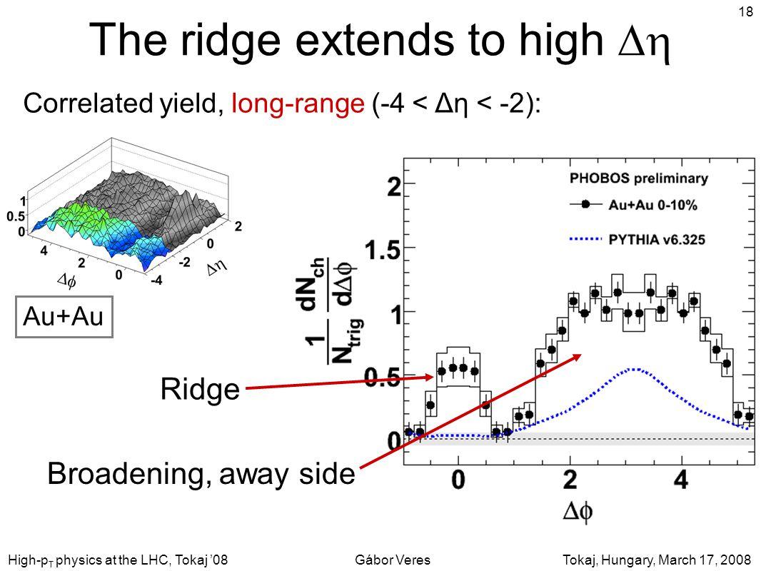 Tokaj, Hungary, March 17, 2008Gábor VeresHigh-p T physics at the LHC, Tokaj '08 18 The ridge extends to high  Correlated yield, long-range (-4 < Δη < -2): Ridge Broadening, away side Au+Au