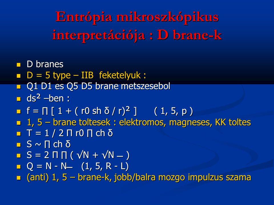 Entrópia mikroszkópikus interpretációja : D brane-k D branes D branes D = 5 type – IIB feketelyuk : D = 5 type – IIB feketelyuk : Q1 D1 es Q5 D5 brane