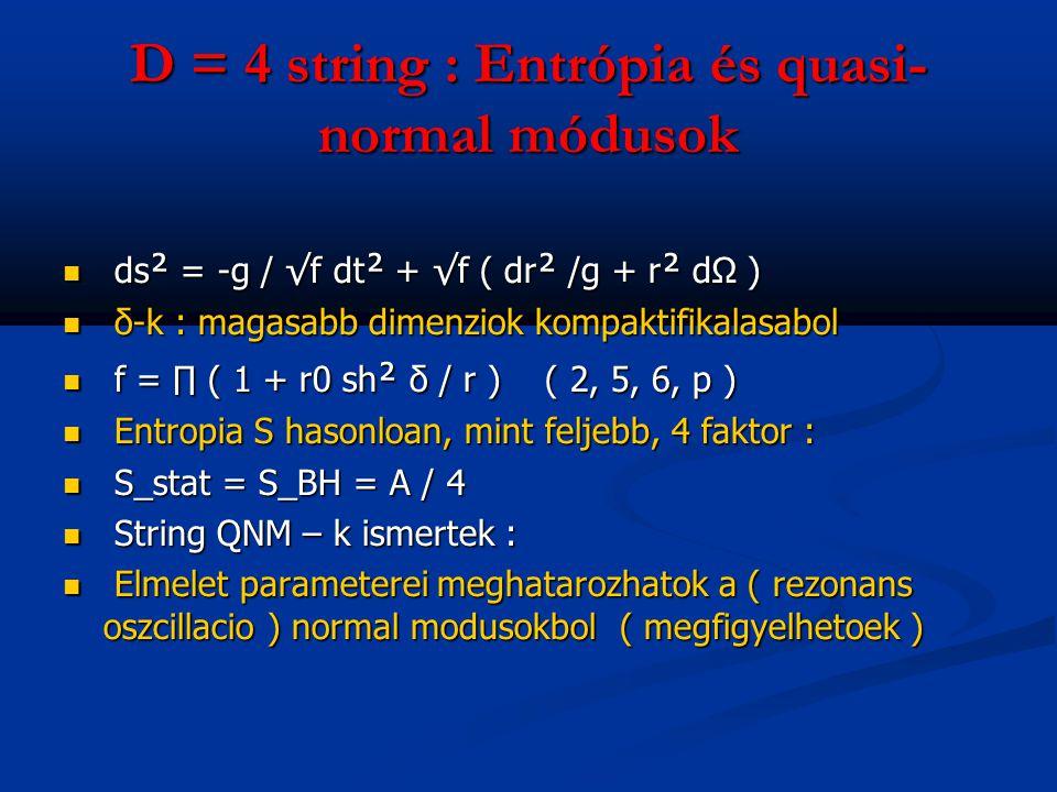D = 4 string : Entrópia és quasi- normal módusok ds ² = -g / √f dt ² + √f ( dr ² /g + r ² dΩ ) ds ² = -g / √f dt ² + √f ( dr ² /g + r ² dΩ ) δ-k : mag