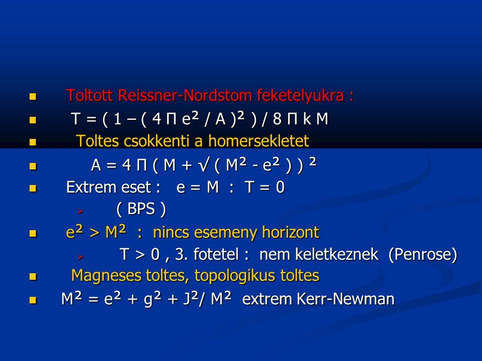 Toltott Reissner-Nordstom feketelyukra : Toltott Reissner-Nordstom feketelyukra : T = ( 1 – ( 4 Π e ² / A ) ² ) / 8 Π k M T = ( 1 – ( 4 Π e ² / A ) ²