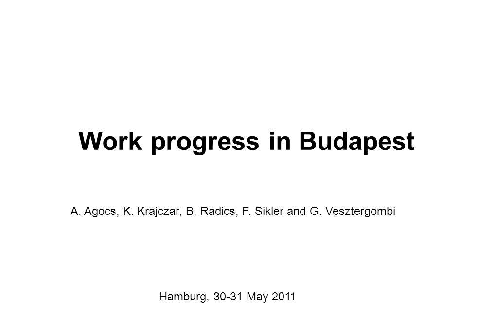Work progress in Budapest A. Agocs, K. Krajczar, B.
