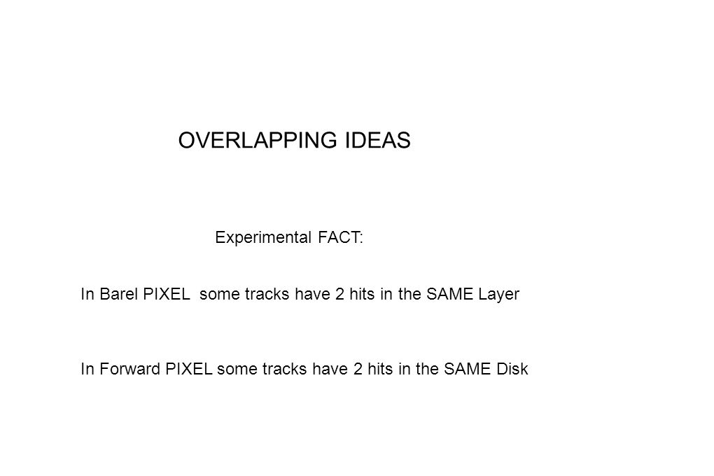 OVERLAPPING IDEAS Experimental FACT: In Barel PIXEL some tracks have 2 hits in the SAME Layer In Forward PIXEL some tracks have 2 hits in the SAME Dis