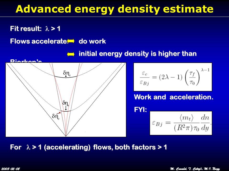 2008-02-08M. Csanád, T. Csörg ő, M.I. Nagy Advanced energy density estimate Fit result:  > 1 Flows accelerate: do work initial energy density is high
