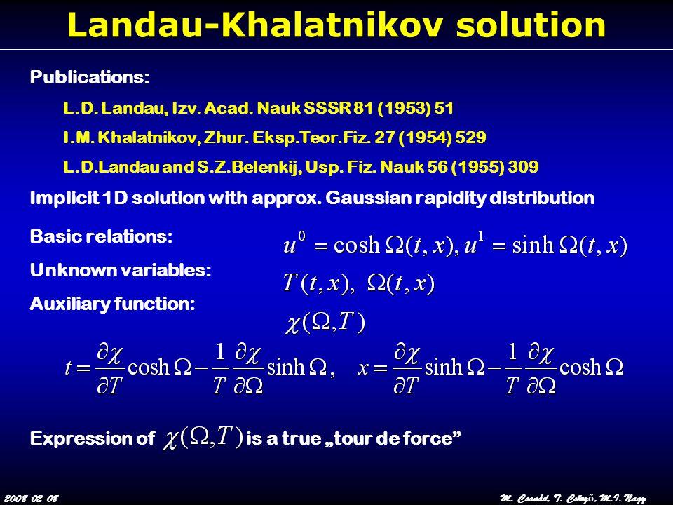 2008-02-08M. Csanád, T. Csörg ő, M.I. Nagy Landau-Khalatnikov solution Publications: L.D. Landau, Izv. Acad. Nauk SSSR 81 (1953) 51 I.M. Khalatnikov,