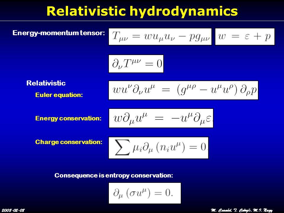 2008-02-08M. Csanád, T. Csörg ő, M.I. Nagy Relativistic hydrodynamics Energy-momentum tensor: Relativistic Euler equation: Energy conservation: Charge
