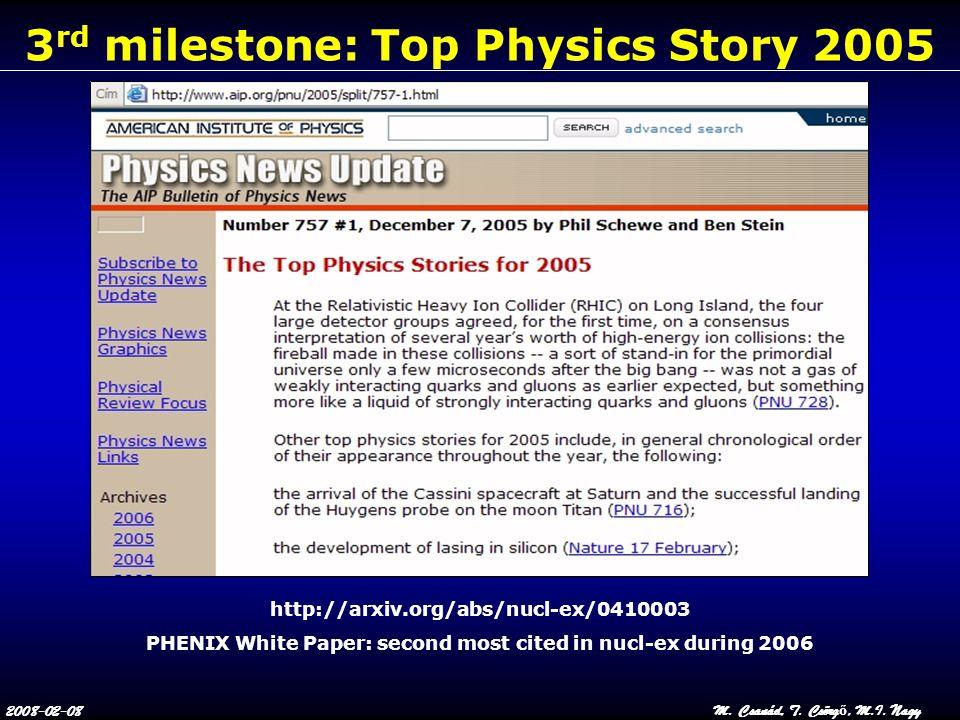 2008-02-08M. Csanád, T. Csörg ő, M.I. Nagy 3 rd milestone: Top Physics Story 2005 http://arxiv.org/abs/nucl-ex/0410003 PHENIX White Paper: second most
