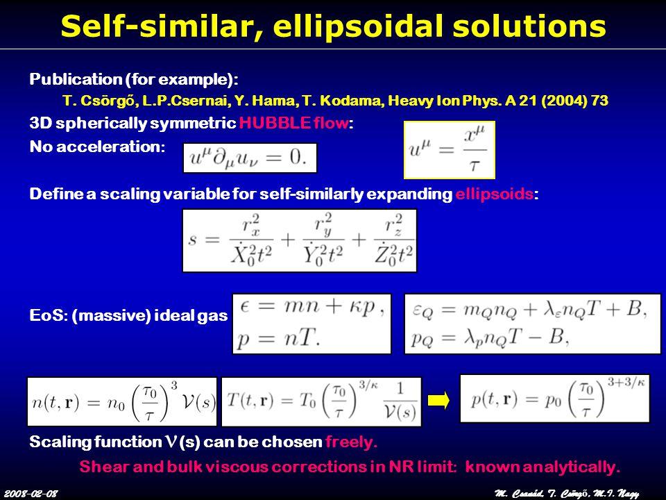 2008-02-08M. Csanád, T. Csörg ő, M.I. Nagy Self-similar, ellipsoidal solutions Publication (for example): T. Csörg ő, L.P.Csernai, Y. Hama, T. Kodama,
