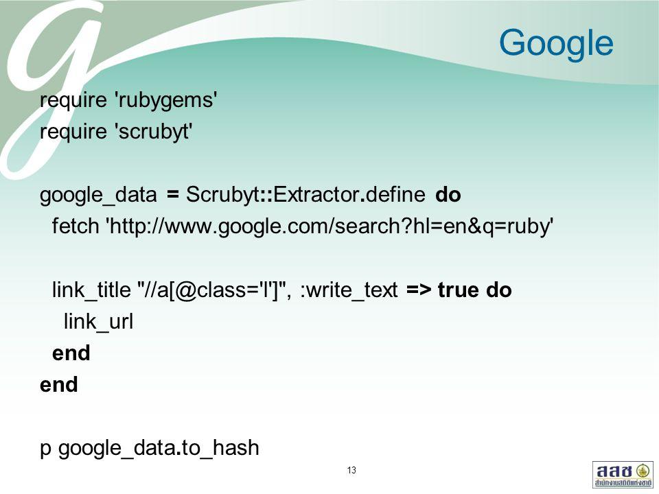 Google require 'rubygems' require 'scrubyt' google_data = Scrubyt::Extractor.define do fetch 'http://www.google.com/search?hl=en&q=ruby' link_title