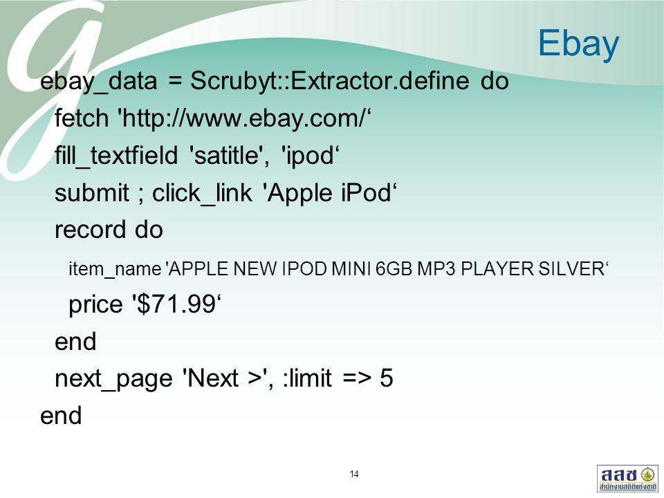 Ebay ebay_data = Scrubyt::Extractor.define do fetch 'http://www.ebay.com/' fill_textfield 'satitle', 'ipod' submit ; click_link 'Apple iPod' record do