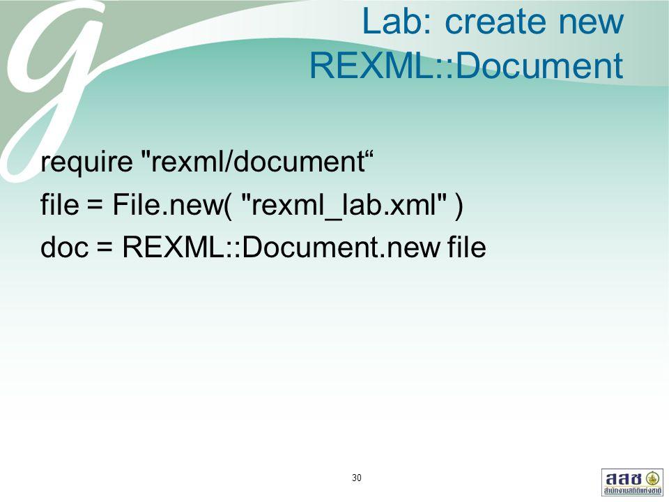Lab: create new REXML::Document require