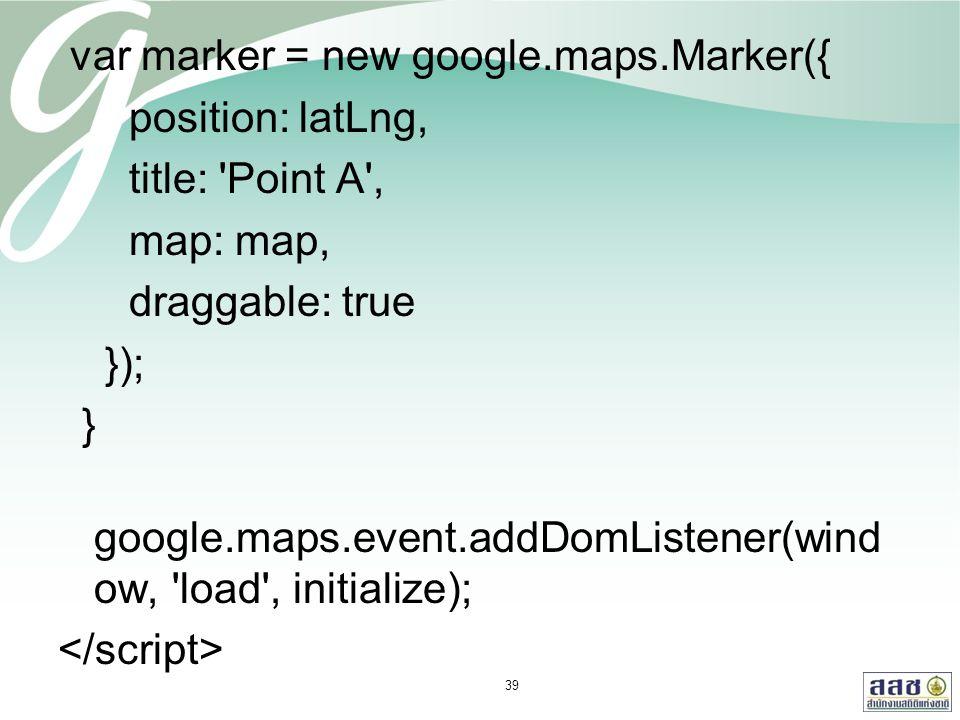 var marker = new google.maps.Marker({ position: latLng, title: 'Point A', map: map, draggable: true }); } google.maps.event.addDomListener(wind ow, 'l