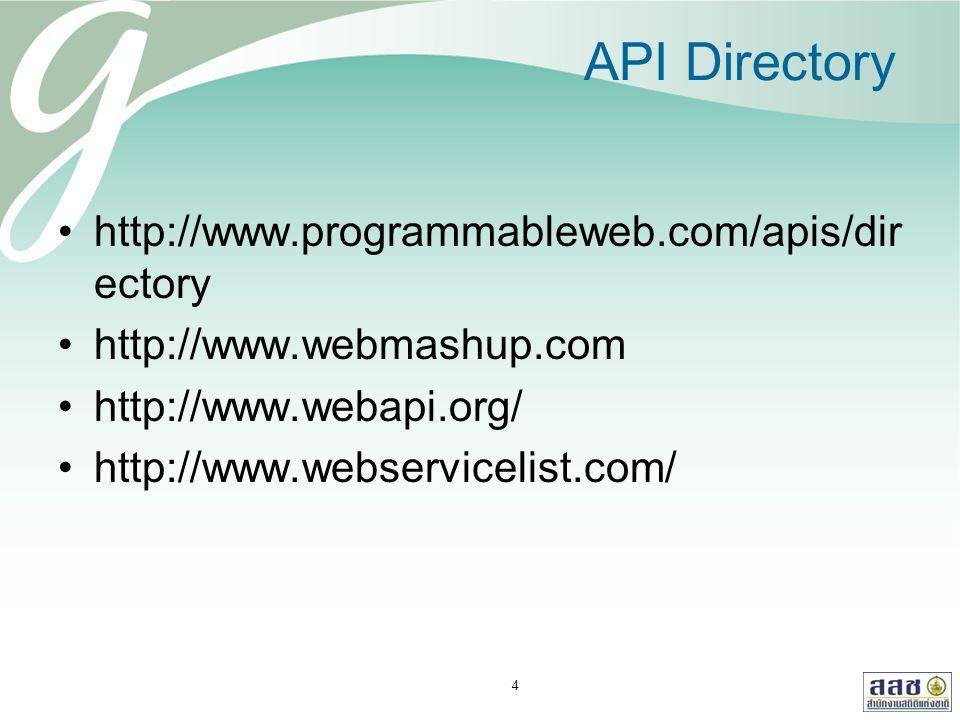 API Directory http://www.programmableweb.com/apis/dir ectory http://www.webmashup.com http://www.webapi.org/ http://www.webservicelist.com/ 4