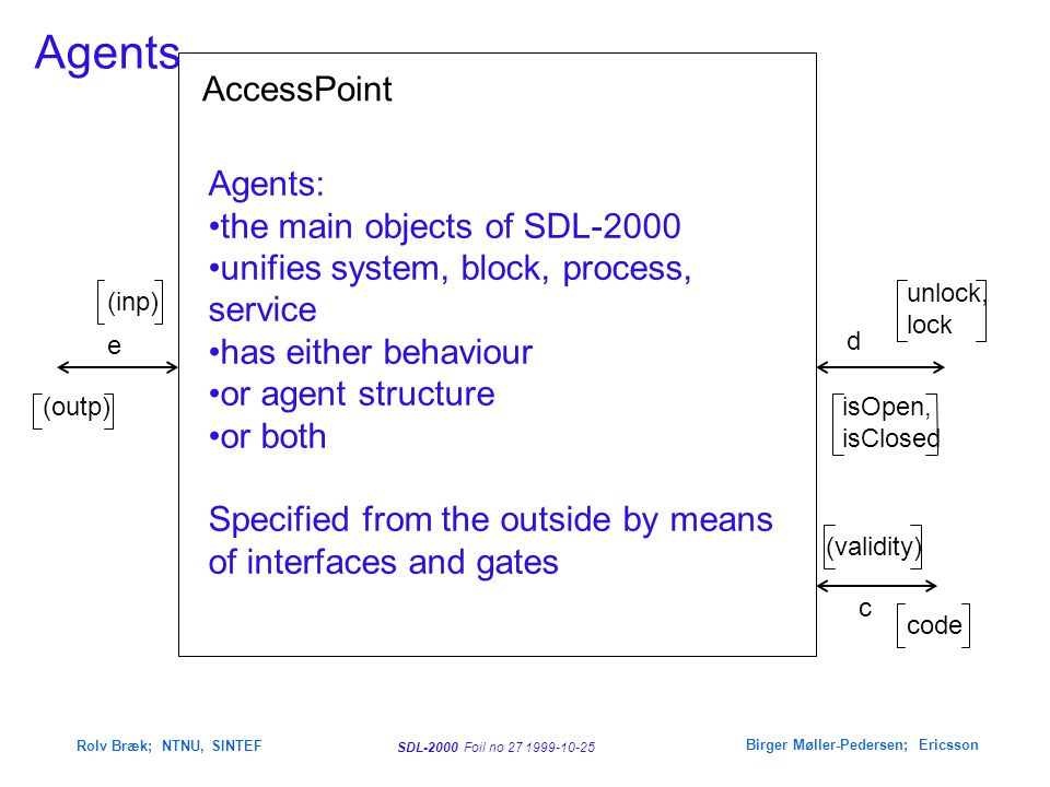 SDL-2000 Foil no 27 1999-10-25 Rolv Bræk; NTNU, SINTEF Birger Møller-Pedersen; Ericsson AccessPoint d unlock, lock isOpen, isClosed c (validity) code e (outp) (inp) Agents Agents: the main objects of SDL-2000 unifies system, block, process, service has either behaviour or agent structure or both Specified from the outside by means of interfaces and gates