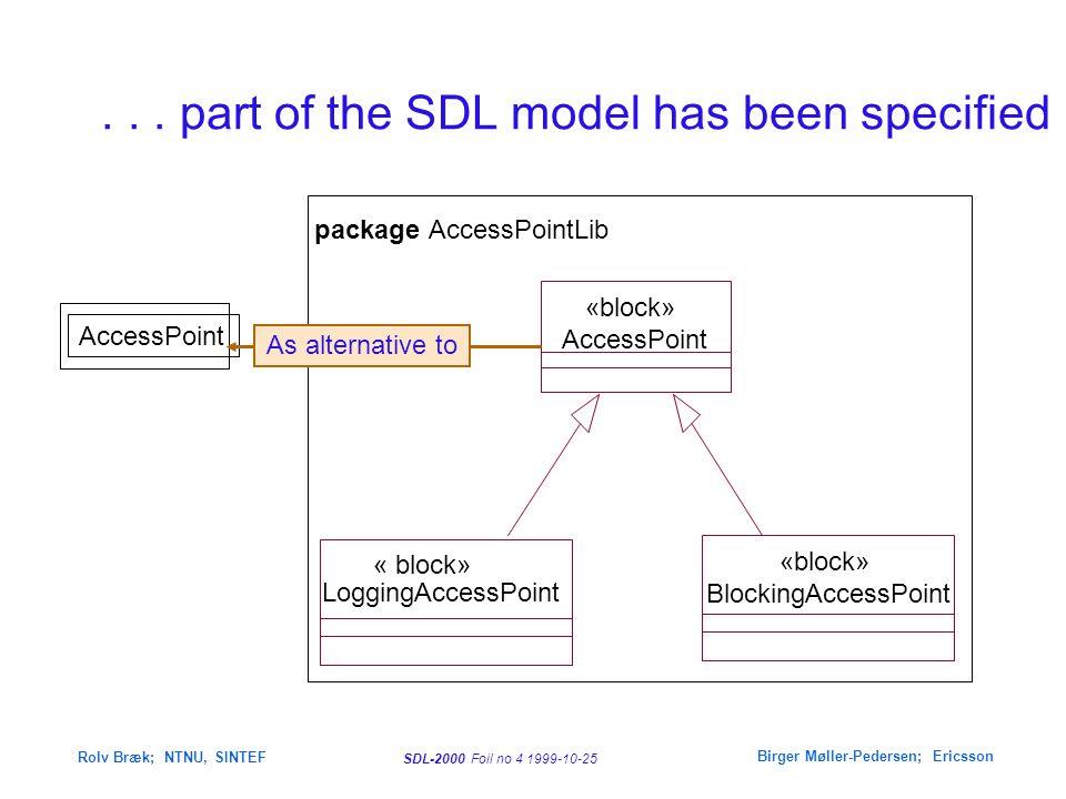 SDL-2000 Foil no 4 1999-10-25 Rolv Bræk; NTNU, SINTEF Birger Møller-Pedersen; Ericsson... part of the SDL model has been specified package AccessPoint