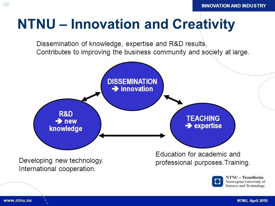 48 NTNU, April 2010 NTNU – Innovation and Creativity R&D  new knowledge TEACHING  expertise Dissemination of knowledge, expertise and R&D results.