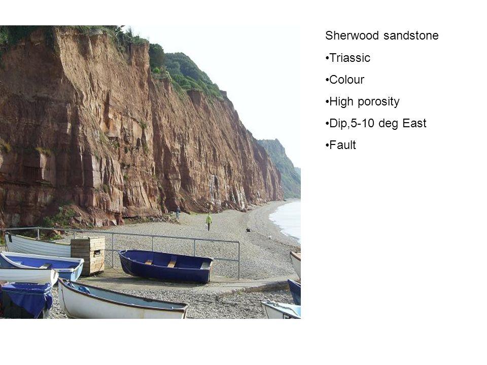 Sherwood sandstone Triassic Colour High porosity Dip,5-10 deg East Fault