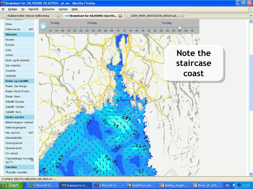 Meteorologisk Institutt met.no OPNet, Geilo May 27, 2009LPR 10 Sea and Coast on yr.no Hav og kyst på yr.no Note the staircase coast