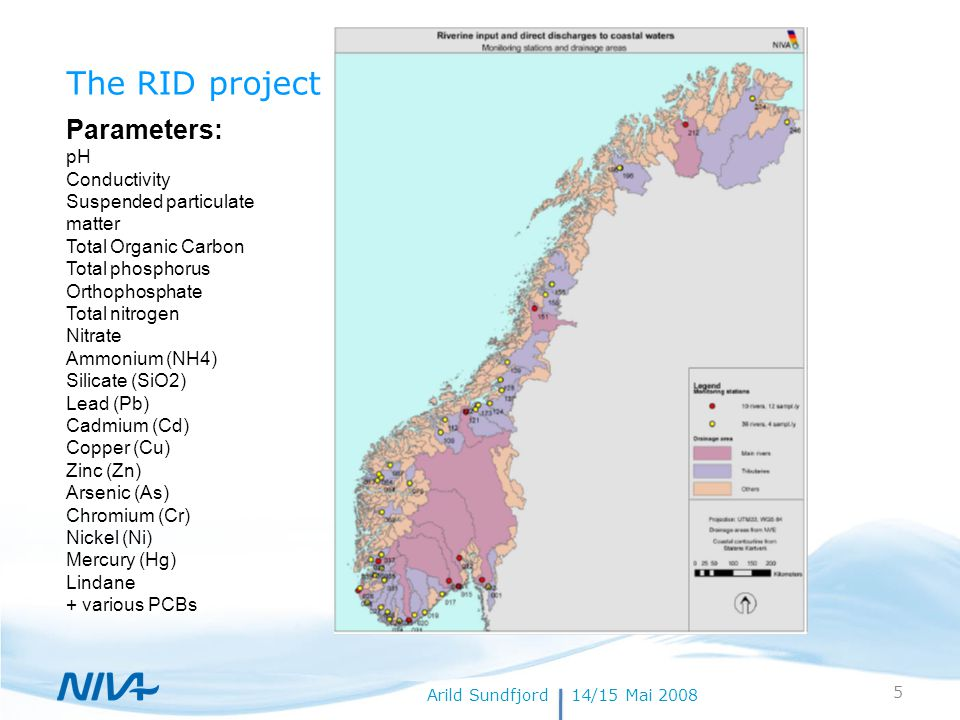 18. juli 20145Forfatternavn The RID project Arild Sundfjord14/15 Mai 2008 Parameters: pH Conductivity Suspended particulate matter Total Organic Carbo