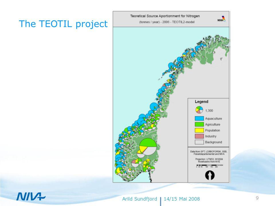 18. juli 20149Forfatternavn Arild Sundfjord14/15 Mai 2008 The TEOTIL project