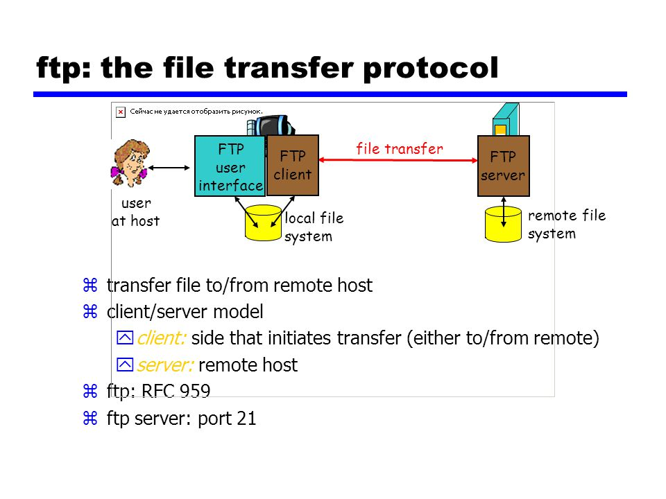 ftp: the file transfer protocol ztransfer file to/from remote host zclient/server model yclient: side that initiates transfer (either to/from remote) yserver: remote host zftp: RFC 959 zftp server: port 21 file transfer FTP server FTP user interface FTP client local file system remote file system user at host