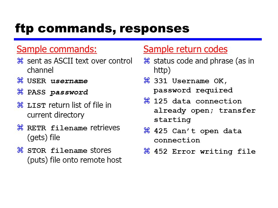 ftp commands, responses Sample commands: zsent as ASCII text over control channel  USER username  PASS password  LIST return list of file in current directory  RETR filename retrieves (gets) file  STOR filename stores (puts) file onto remote host Sample return codes z status code and phrase (as in http) z331 Username OK, password required z125 data connection already open; transfer starting z425 Can't open data connection z452 Error writing file