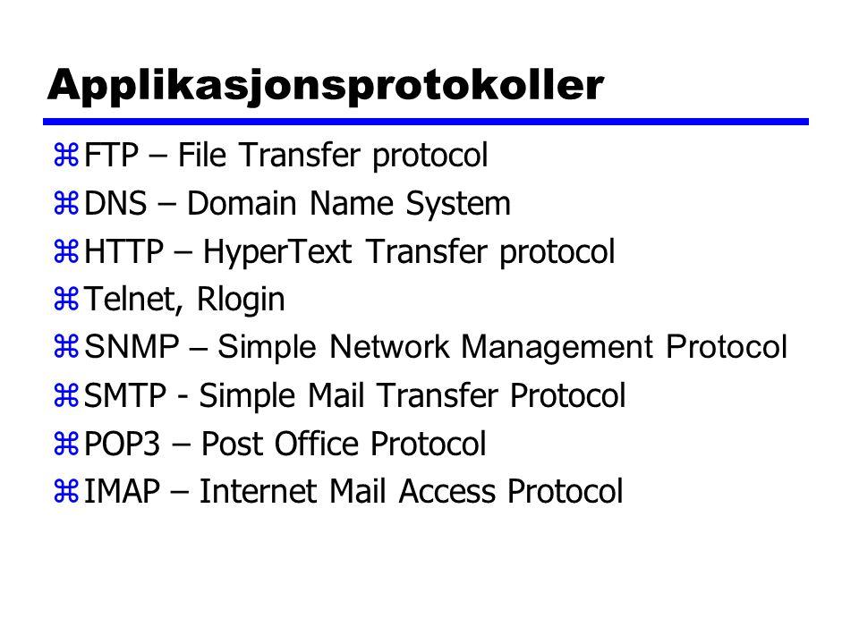 Applikasjonsprotokoller zFTP – File Transfer protocol zDNS – Domain Name System zHTTP – HyperText Transfer protocol zTelnet, Rlogin  SNMP – Simple Ne