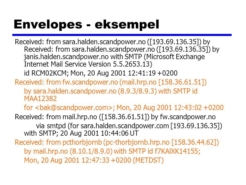 Envelopes - eksempel Received: from sara.halden.scandpower.no ([193.69.136.35]) by Received: from sara.halden.scandpower.no ([193.69.136.35]) by janis