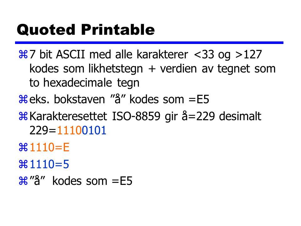 """Quoted Printable z7 bit ASCII med alle karakterer 127 kodes som likhetstegn + verdien av tegnet som to hexadecimale tegn zeks. bokstaven """"å"""" kodes som"""