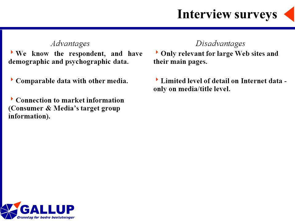 GALLUP Grunnlag for bedre beslutninger Interview surveys Advantages  We know the respondent, and have demographic and psychographic data.
