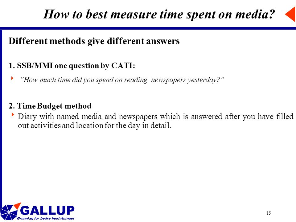 GALLUP Grunnlag for bedre beslutninger 15 How to best measure time spent on media.