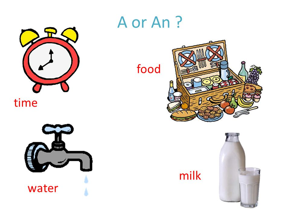 time water milk food A or An