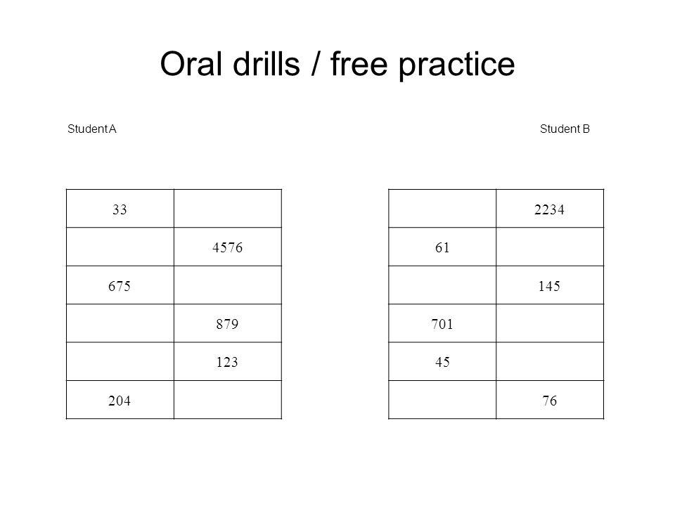 Oral drills / free practice Student AStudent B 332234 457661 675145 879701 12345 20476