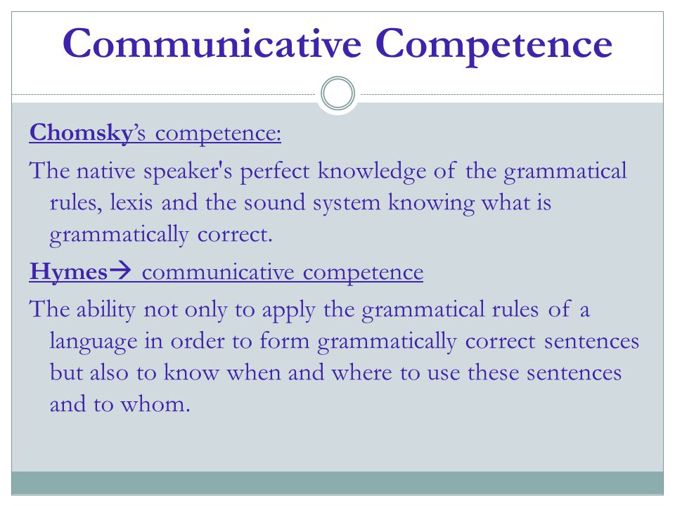 Communicative Competence Chomsky's competence: The native speaker's perfect knowledge of the grammatical rules, lexis and the sound system knowing wha