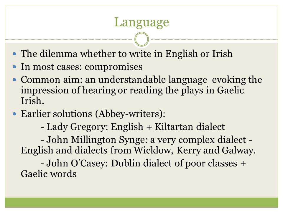 Language The dilemma whether to write in English or Irish In most cases: compromises Common aim: an understandable language evoking the impression of