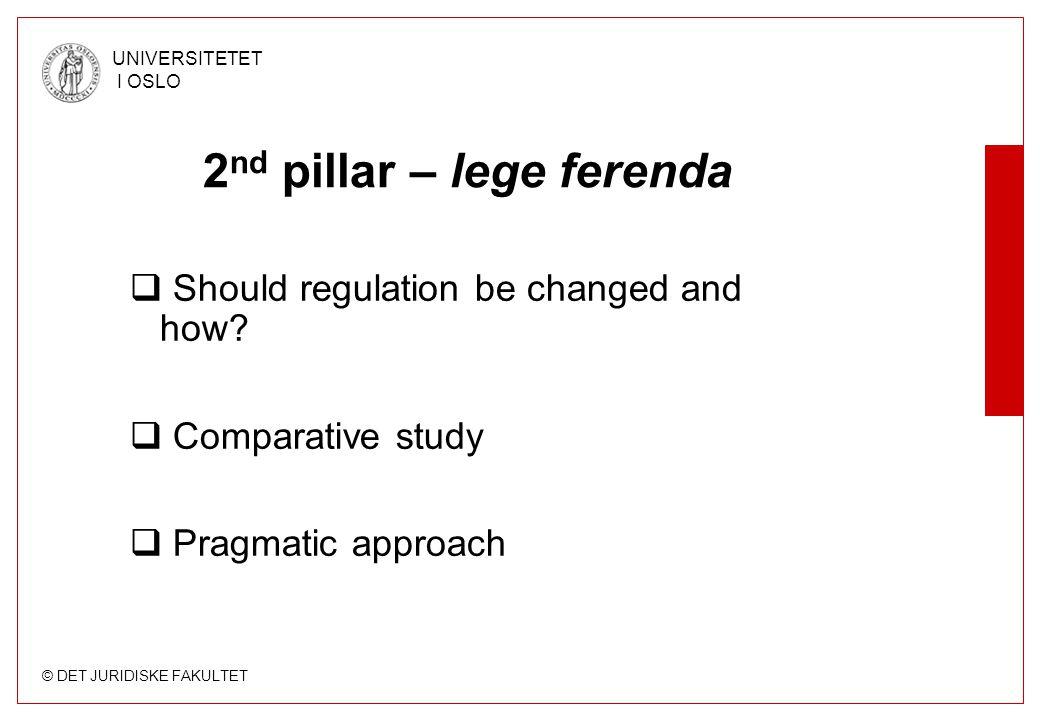 © DET JURIDISKE FAKULTET UNIVERSITETET I OSLO 2 nd pillar – lege ferenda  Should regulation be changed and how.