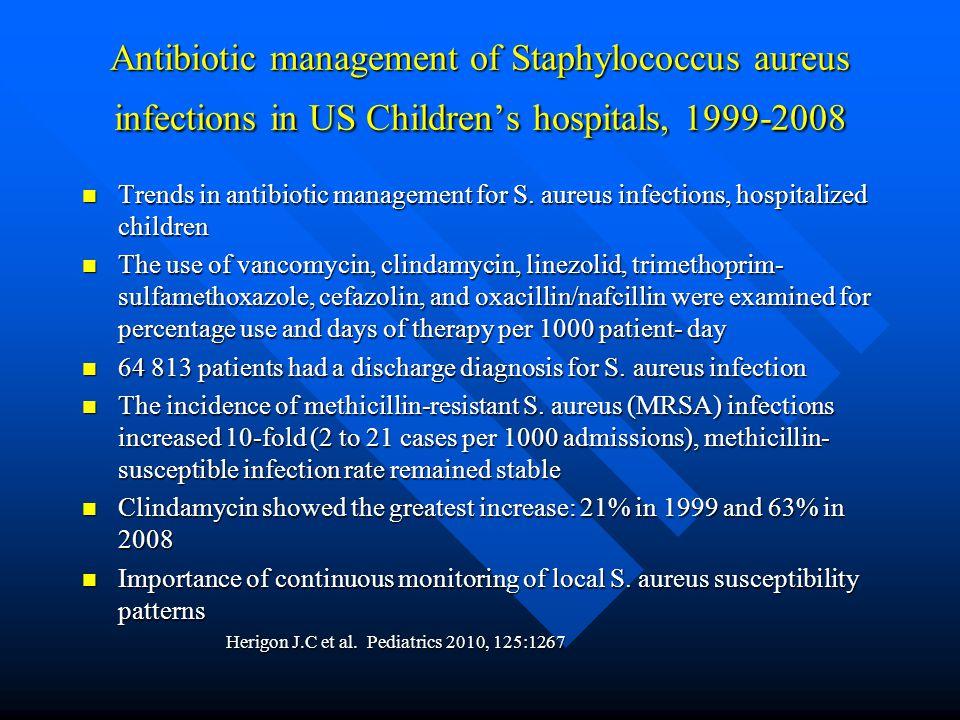 Antibiotic management of Staphylococcus aureus infections in US Children's hospitals, 1999-2008 Trends in antibiotic management for S. aureus infectio